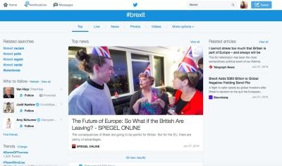 #Sur les réseaux sociaux, le Brexit est rapidement devenu l'un des hashtags les plus utilisés depuis que la GB s'est prononcée en faveur de la sortie de l'UE (photo : capture d'écran Twitter)