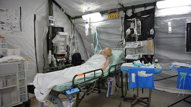 Salle d'un hôpital de campagne israélien de niveau 3 (photo : Presse armée de défense d'Israël)