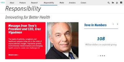 La compagnie pharmaceutique israélienne Teva consacre chaque année 108 millions de dollars à des dons (photo : capture d'écran du site TEVA)