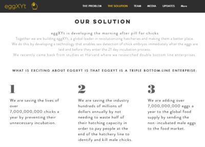 EggXYt a été créée entre autres par un descendant d'éleveurs israéliens de poulets (photo : capture d'écran du site Internet)