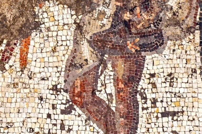 Un fragment de la mosaïque mise à jour (photo : Autorité israélienne des antiquités)