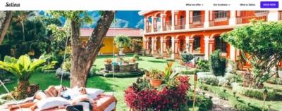 Le site Internet de Selina présente le concept de la start-up et différents complexes hôteliers (capture d'écran)