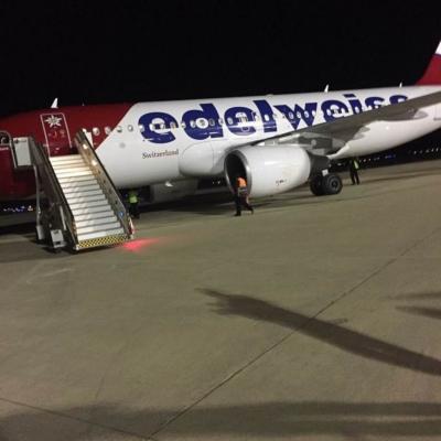 Le premier vol de la companie suisse EDELWEISS au départ de Zurich a atterri cette semaine à Eilat (photo: Yair Sagi).