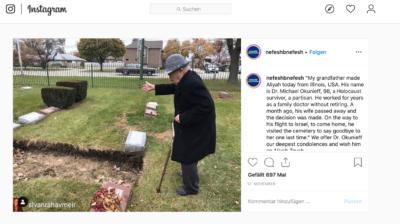 Le tout nouveau citoyen israélien, Dr Michael Okunieff, salue une dernière fois la tombe de sa femme à Chicago avant de s'envoler pour Israël (photo : Instagram Nefesh BeNefesh)