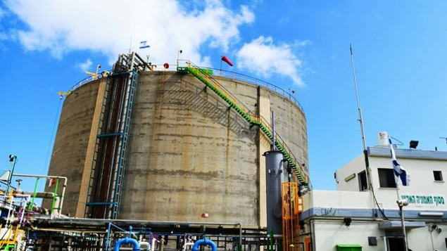 Le réservoir d'ammoniac à Haïfa (photo : ministère de l'Ecologie)
