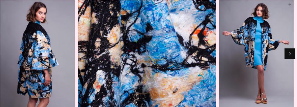 """La collection """"Worn Again"""" de Dana Cohen, réalisée à partir d'étoffes ayant déjà servi, présente des modèles intemporels (photo: capture d'écran http://www.cohendana.com)"""
