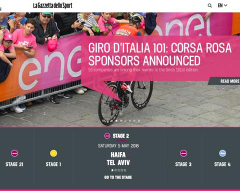 Le Giro d'Italia s'élancera pour la première fois de son histoire en Israël – un événement sportif de première importance pour le pays (photo: capture d'écran site Internet Giro d'Italia)