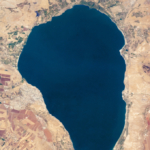 Photo satellite du lac de Tibériade (photo : NASA Earth Observatory).