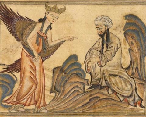 Le prophète Mohamed représenté avec l'ange Gabriel (photo : http://www.zombietime.com/mohammed_image_archive/islamic_mo_full/).