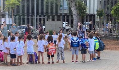 Elèves de CP à Tel-Aviv lors de la cérémonie d'ouverture de l'école qui, cette année, se fait par petits groupes, dans le respect des consignes sanitaires (photo :KHC)