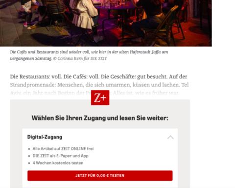 Quatre semaines gratuites puis 21,60 euros par mois pour s'abonner au quotidien allemand Die Zeit. Une nouvelle start up israélienne veut permettre aux lecteurs en ligne de payer à l'article (photo : capture d'écran)