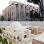 La synagogue telle qu'elle est actuellement (photo : Yair Haklai/Wikimedia Commons) et telle qu'elle sera après les travaux dirigés par l'architecte Uri Padan (photo : UP Architects).